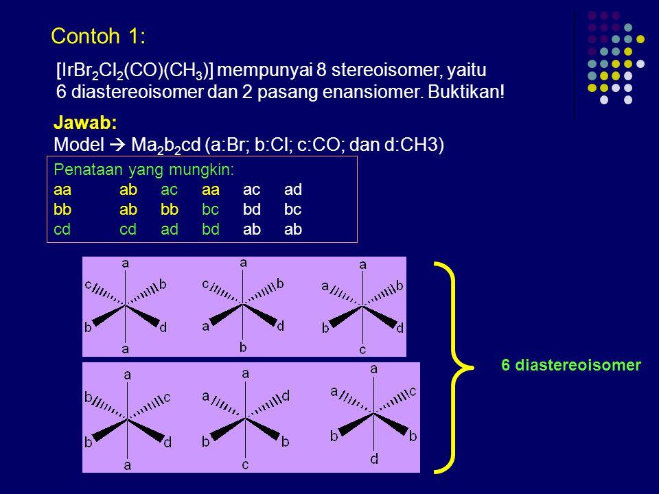 Contoh 1: [IrBr2Cl2(CO)(CH3)] mempunyai 8 stereoisomer, yaitu